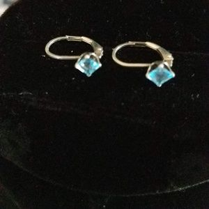 Blue Topaz Dangling Sterling Silver Earrings
